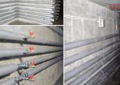 Монтаж трасс отопления и водоснабжения в подвальном помещении